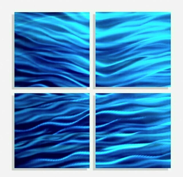 Small Blue Abstract Metal Wall Art Decor
